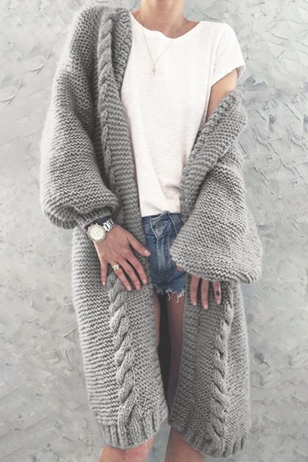 Solid Color Lantern Sleeve Cardigan