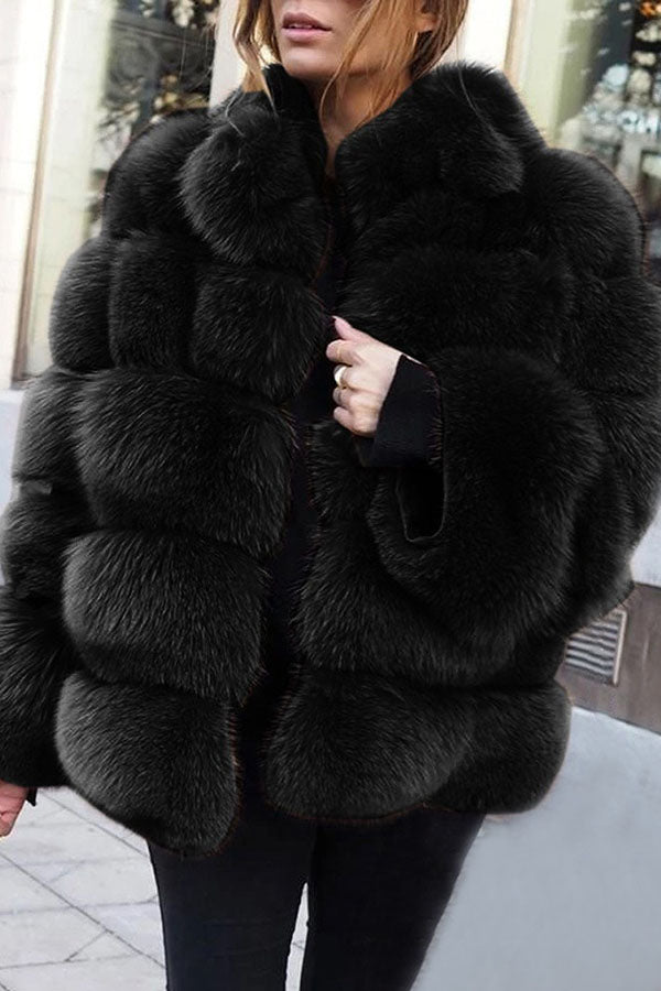 Solid Color Fur Coat