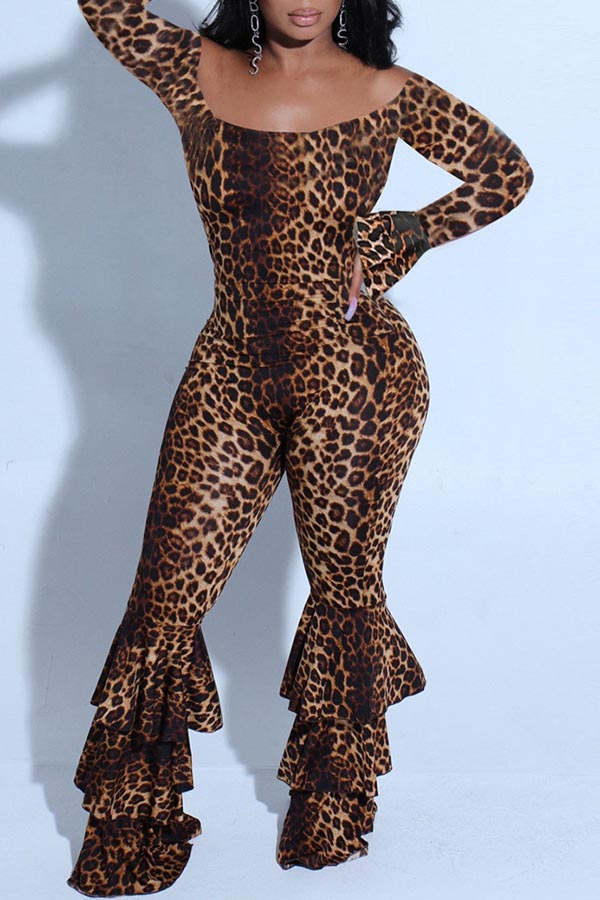 Leopard Off Shoulder Jumpsuit