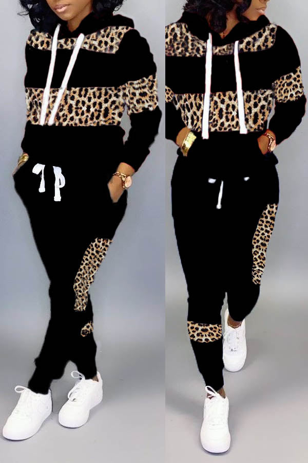 Leopard Patch Hood Two Piece Set