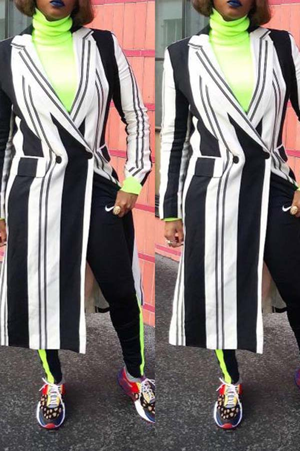 Stripe Print Long Blazer