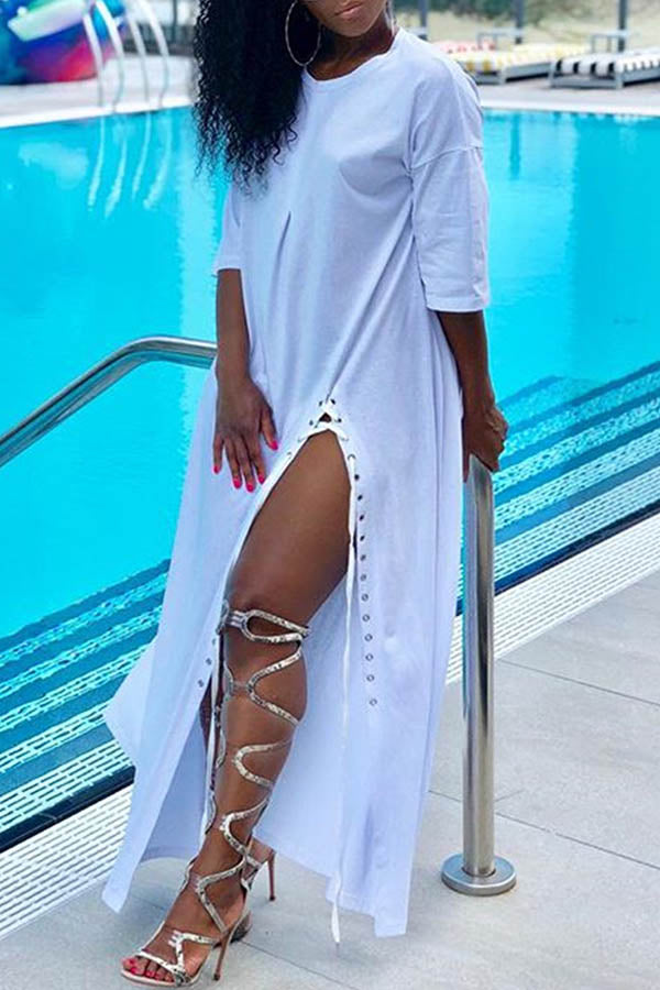 White Lace-Up Dress
