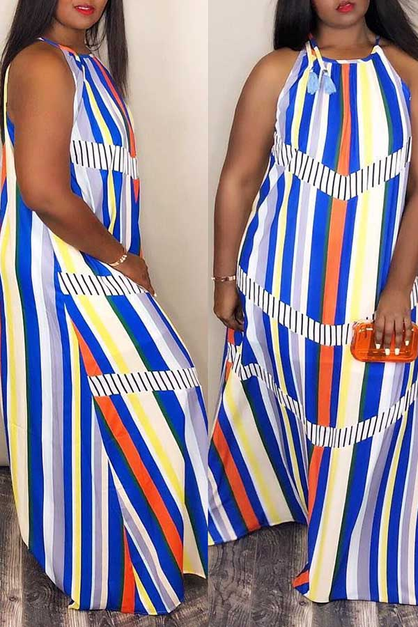 Geo Stripe Maxi Dress