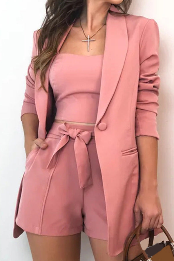 Solid Color Three-Piece Suit