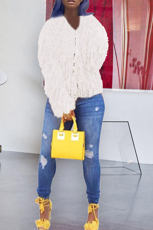 Solid Color Fur Cardigan Coat
