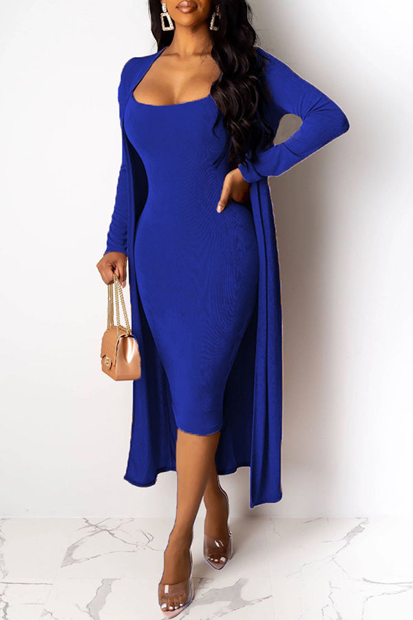 Deep V-Collar Dress Two-Piece Sets