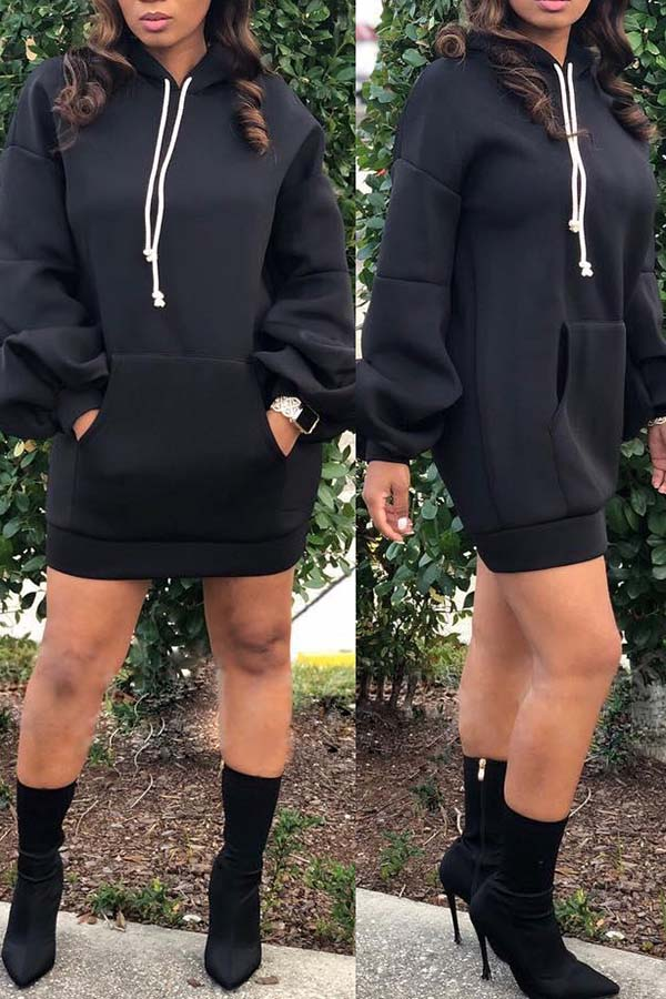 Lantern Long Sleeve Cap Dress