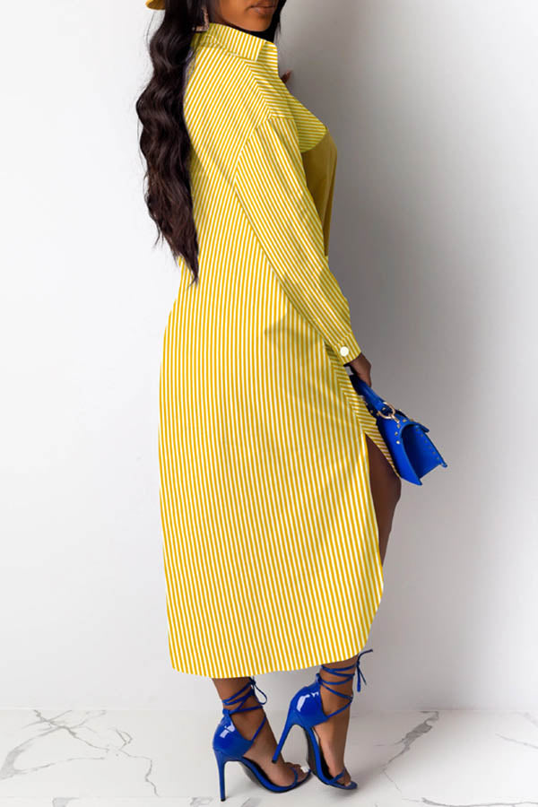 Striped Bat Sleeve Irregular Splicing Dress