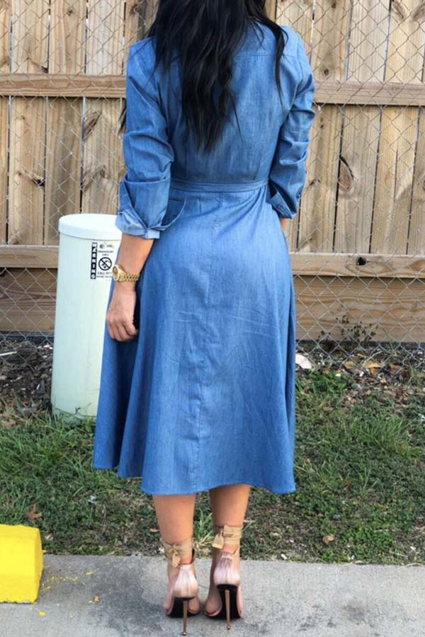 Lace-Up Jeans Long Shirt Dress