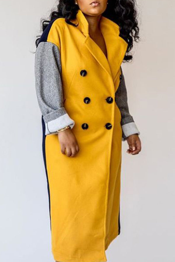 Color Collision Splicing Button Overcoat