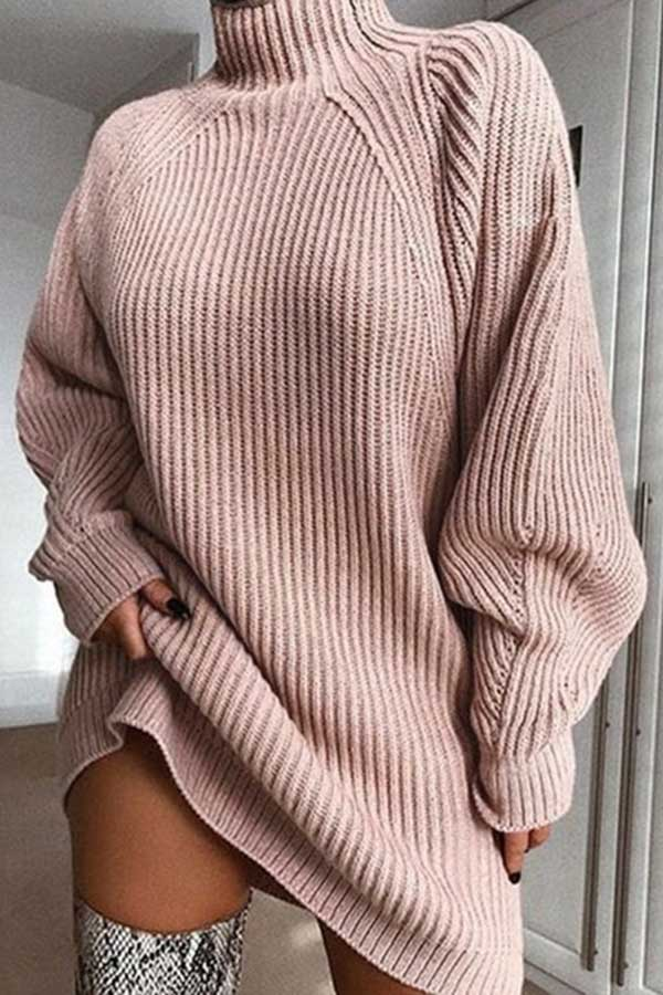 Solid Color High-Collar Sweater Dress