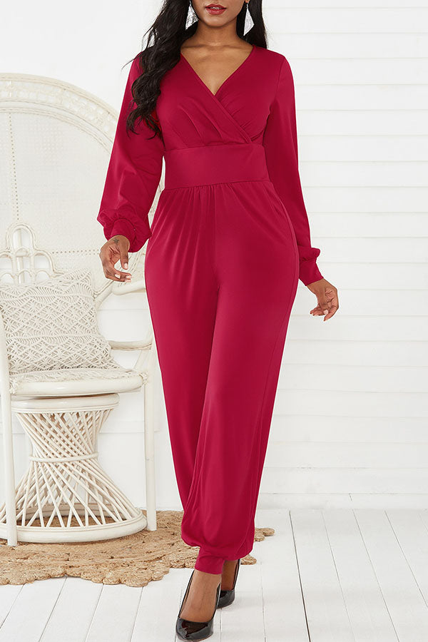 V-Necked Lantern Sleeve Broad-legged Jumpsuit
