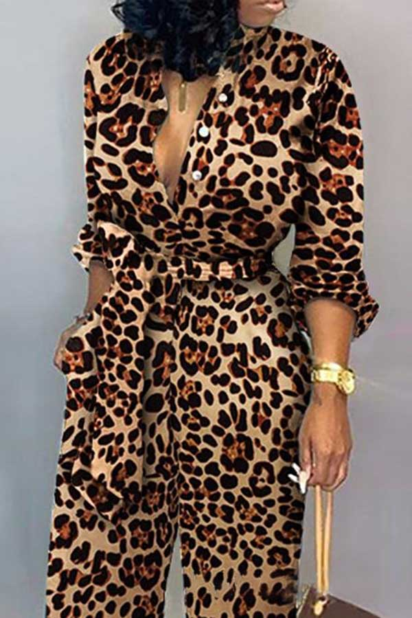 Leopard-Print Long-Sleeved Jumpsuit