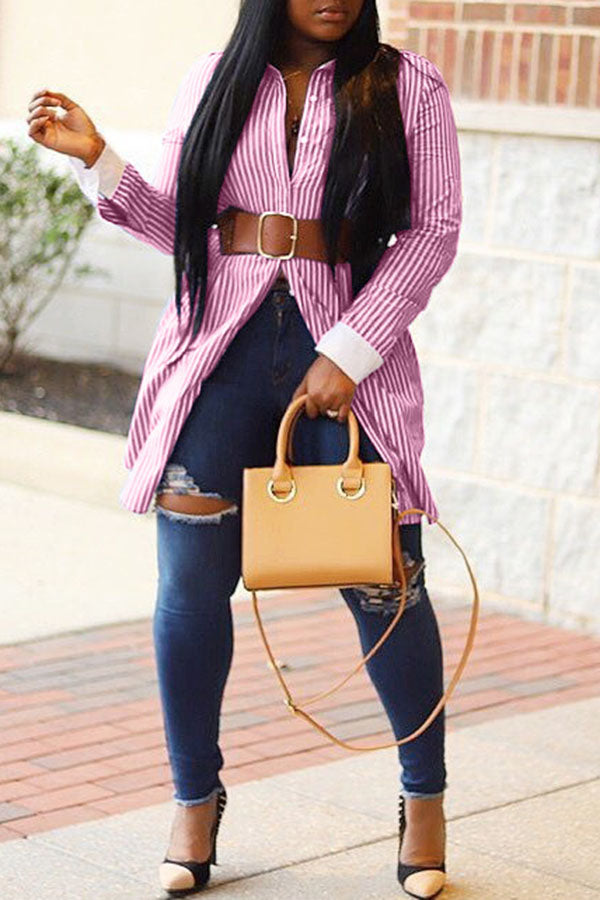 Collision Color Stripe Long Shirt