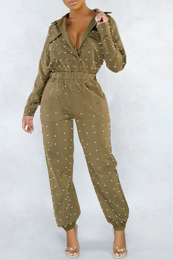 Solid Color Pearl Jumpsuit