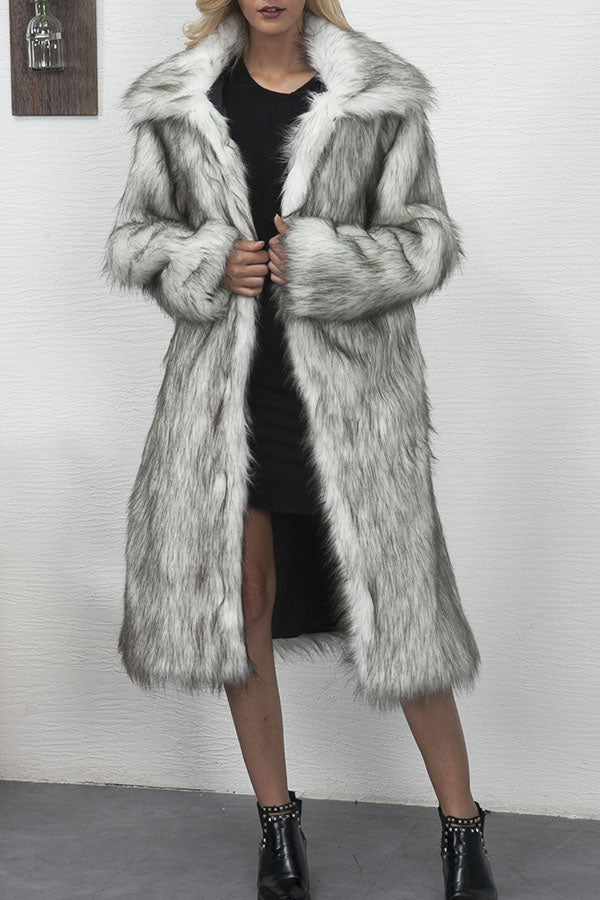 Lapel Fur Long Coat