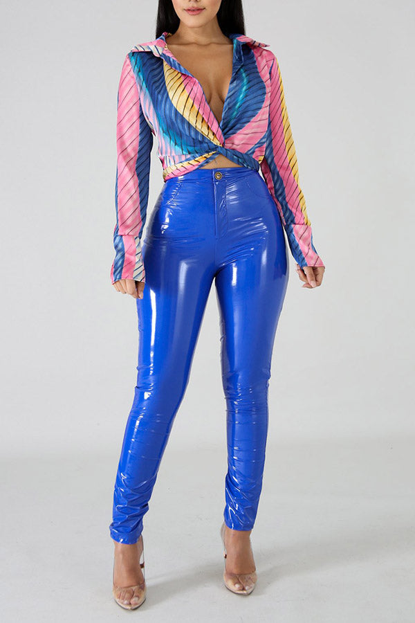High Elasticity Fleece PU Leather Trousers