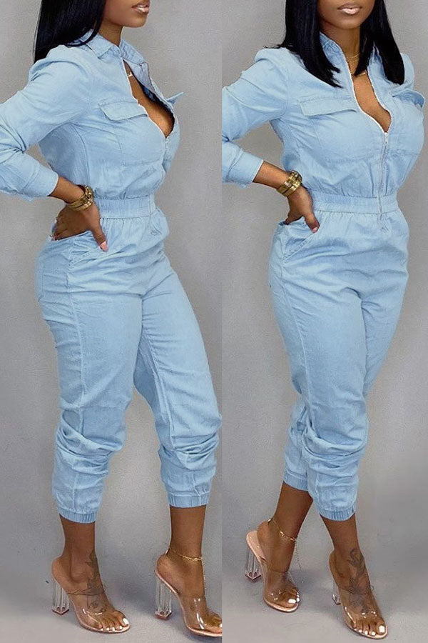 Zipper Pocket Jeans Jumpsuit