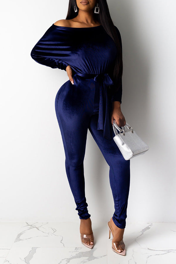 One Shoulder Puff Sleeve Velvet Jumpsuit