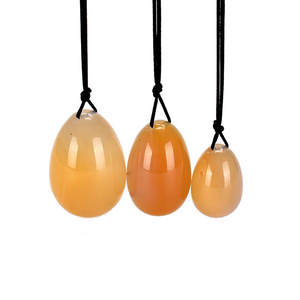 Orange Drilled Agate Carnelian Yoni Egg Set, 3 Pieces