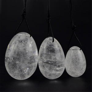Drilled Natural Clear Quartz Crystal Yoni Egg Set, 3 Pieces