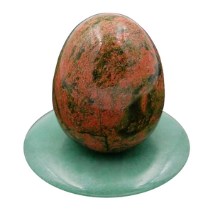 Large Undrilled Pink and Green Unakite Yoni Egg Set, 3 Pieces