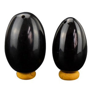 2 Pieces Black Obsidian Yoni Egg + Stand