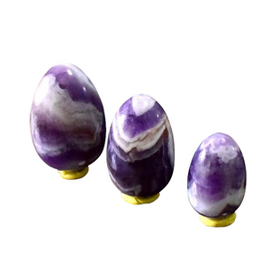 Drilled Multi-Colored Amethyst Yoni Egg Set, 3 Pieces