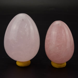Drilled Rose Quartz Yoni Egg Set, 2 Pieces
