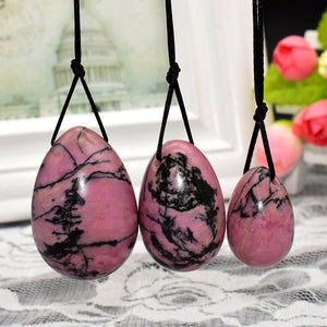 Pink Black Rhodonite Yoni Egg Set, 3 Pieces