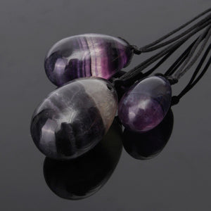 Multi-Color Drilled Amethyst Gemstone Yoni Egg Set, 3 Pieces