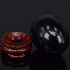 Undrilled Black Obsidian Yoni Egg with Stand