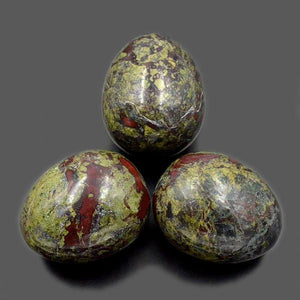 Natural Dragon Bloodstone Yoni Egg Set, 3 Pieces