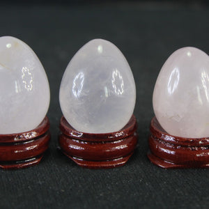 Stunning White Rose Quartz Yoni Egg with stand, 1 pc
