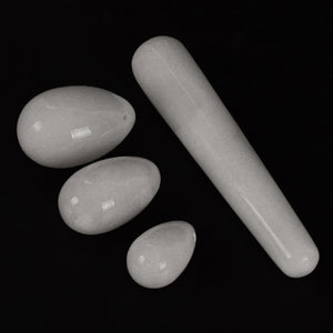 Drilled White Jade Yoni Egg Set, 3 Pieces with Wand