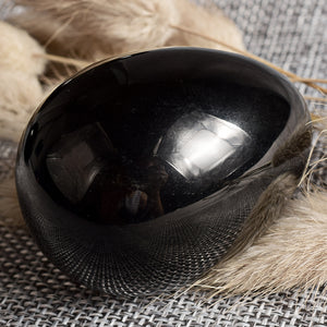 Undrilled Black Obsidian Yoni Egg, 1 pc