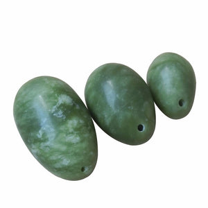 Drilled Jade Yoni Egg Set, 3 pieces