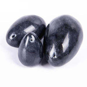 Elegant Black Jade Yoni Egg Set, 3 Pieces