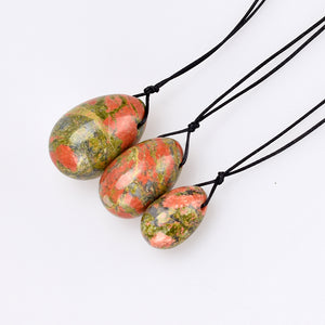 Drilled Unakite Yoni Egg Set, 3 Pieces