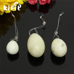 Natural White Jade Yoni Egg Set, 3 Pieces