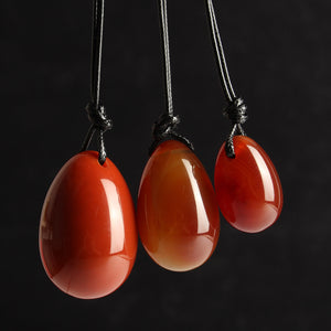 3Pcs Drilled Natural Red Agate Yoni Eggs