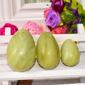Drilled Serpentine Jade Yoni Egg Set, 3 Pieces