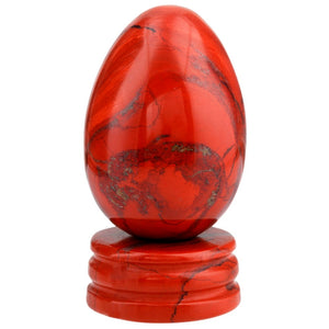 Orange Jasper Yoni Egg with Stone Stand