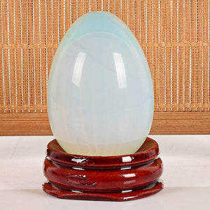 Crystal Opalite Yoni Egg Set, 3 Pieces with Wooden Base