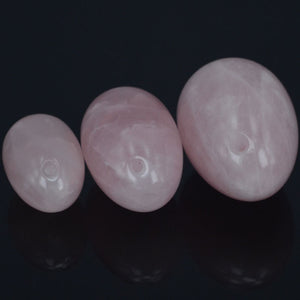 Natural Pink Rose Quartz Yoni Egg Set, 3 Pieces