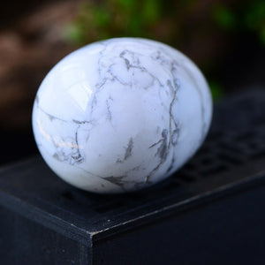 Medium Undrilled Marbled White Quartz Crystal Yoni Egg