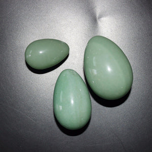 Undrilled Green Aventurine Yoni Egg Set, 3 Pieces