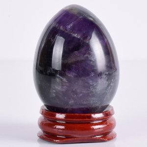 Natural Dark Amethyst Yoni Egg with Stand, 1 pc