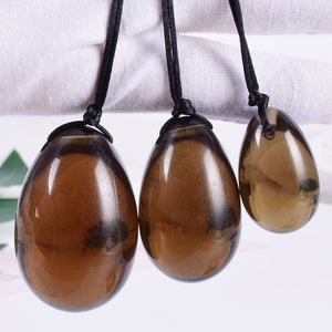 Drilled Brown Smokey Quartz Yoni Egg Set, 3 Pieces