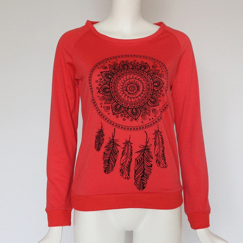 Women's [Red] Casual Long Sleeve (Kaleidoscope Design) Sweatshirt - Remlor Art